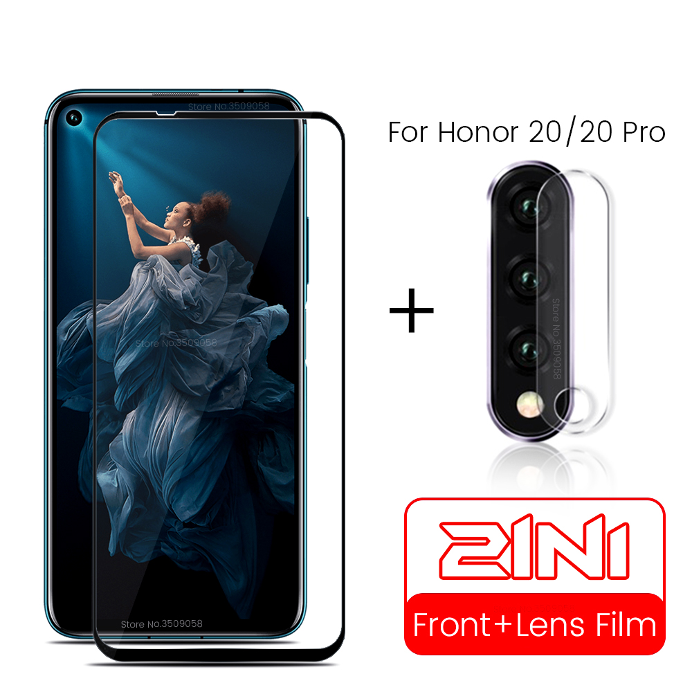2-in-1 Tempered Glass For Honor 20 Screan Protector For Huawei Honor 20 Pro YAL-L21 YAL-AL10 Camera Lens Film On Honor20 6.26''