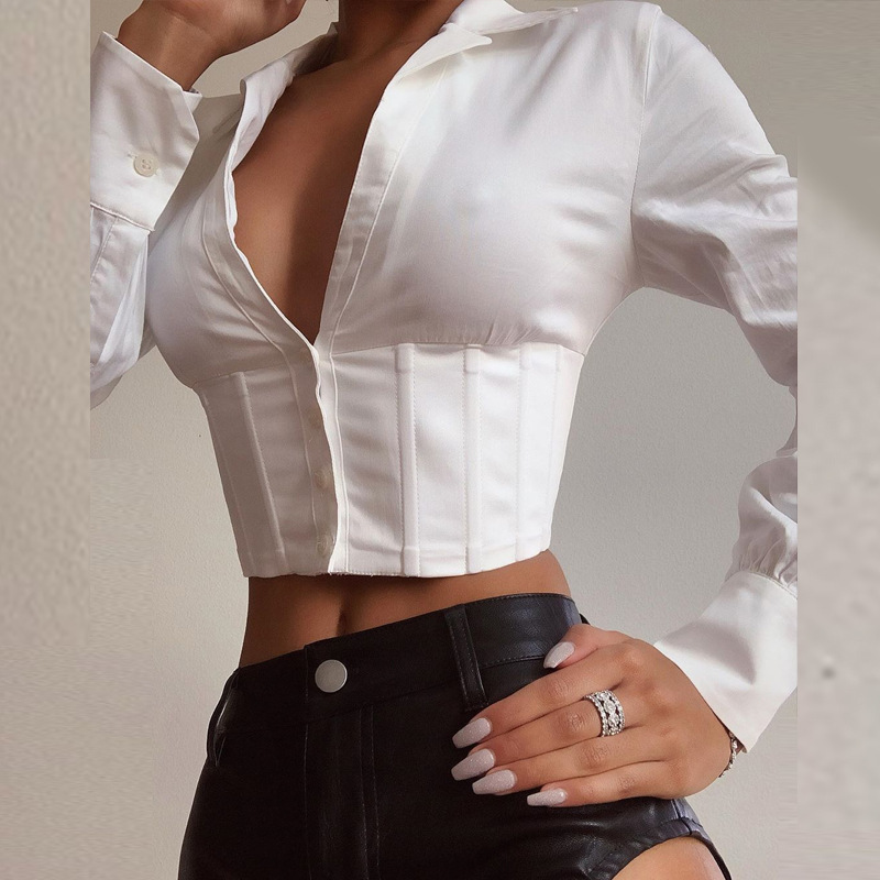 STYLISH LADY White Lace Up Crop Tops Shirt 2020 Summer Spring Long Sleeve V Neck Club Street Corset Bustier Short Blouses Shirt