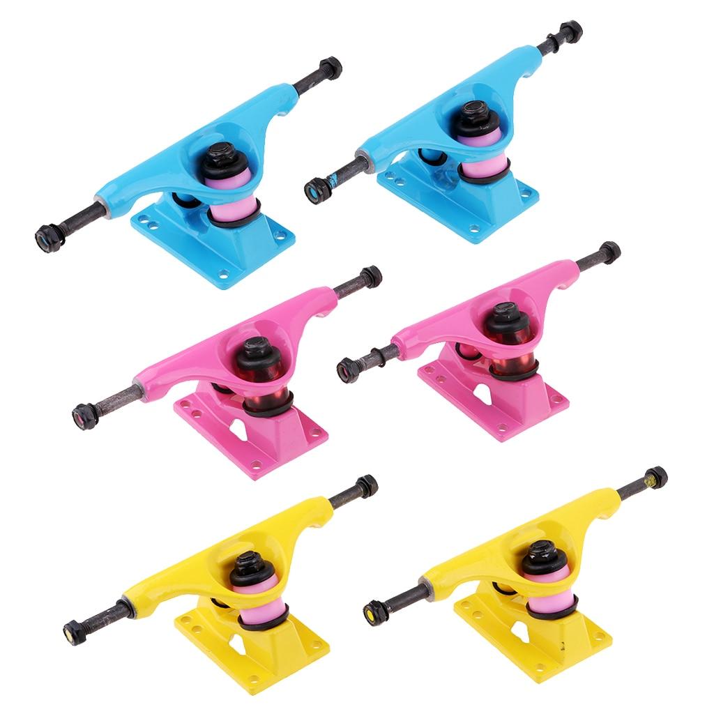 1 Pair Replacement Alloy 5 Inch Skateboard Longboard Trucks Outdoor Skateboarding Accessories For Cruiser Board Double Rocker