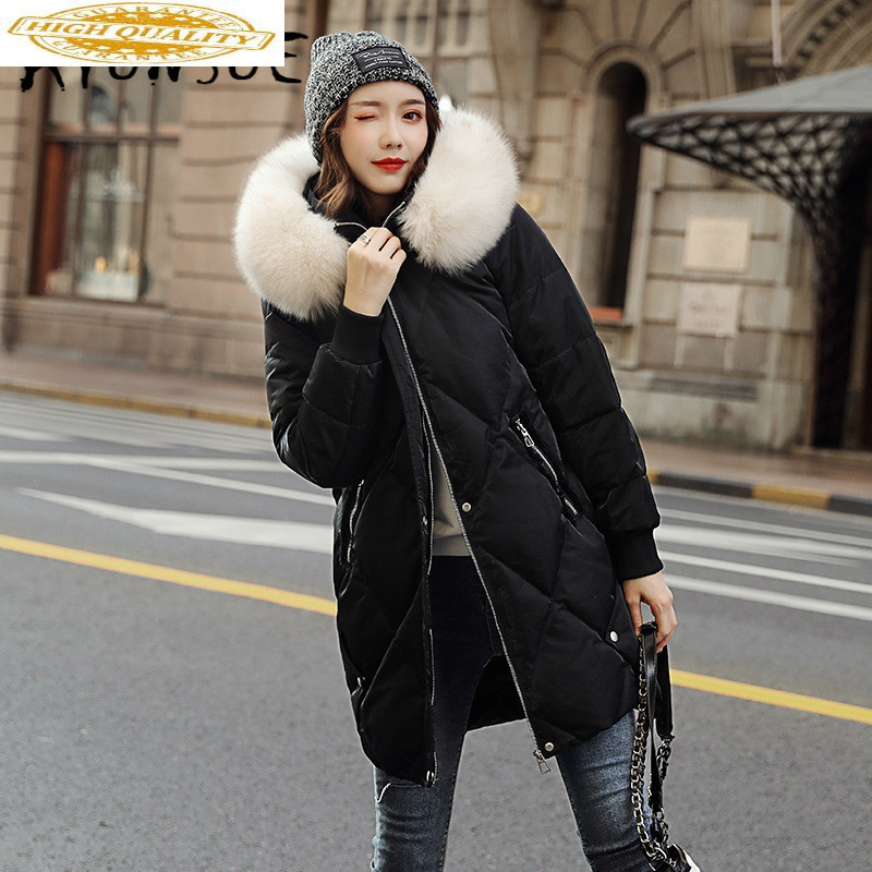 Duck Down Jacket Women Clothes 2019 Winter Coat Women Fox Fur Collar Hooded Korean Puffer Jacket Women Warm Parka 8926 YY2049