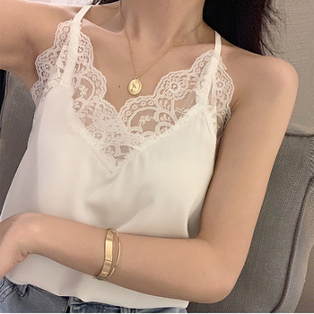 Sexy Silk Top Tank Women Slim Sexy Sleeveless Shirt Womens Basic Camisole Halter Tank Top Summer Lace V Neck Tops For Women 2021 sexy v neck sleeveless solid color criss cross tank top for women