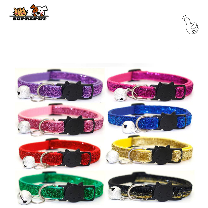 SUPREPET Cute Puppy Frosted  Cat Collar ABS Adjustable Strap Small Pet Cat Kitten Collar With Bell Nylon Strap Pet Cat Collar