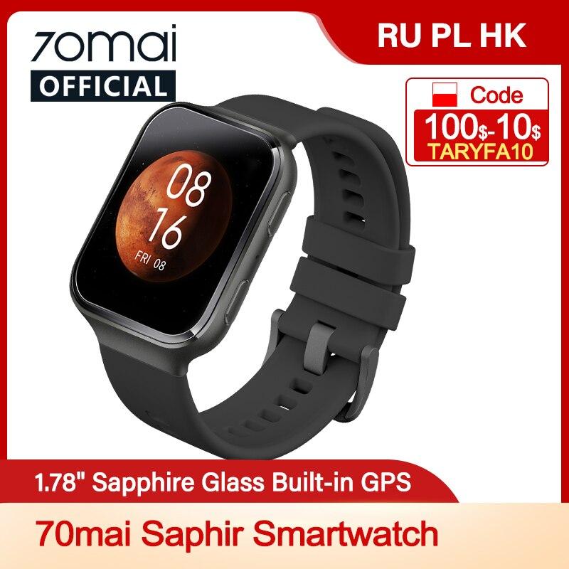 $6 OFF CODE:70MAISAPHIR 70mai Saphir SmartWatch Bluetooth GPS Sport Heart Rate Monitor 5ATM Resistance Call Reminder 70mai APP|Smart Watches| - AliExpress
