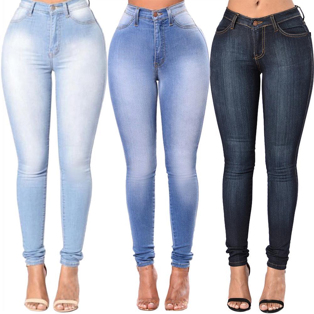 High Quality Fashion Women High Waist Elastic Skinny Jeans Slim Fit Washed Denim Cowboy Streetwear Long Pencil PantsTrousers