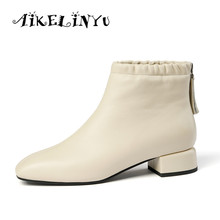 цена AIKELINYU Winter New Fashion Genuine Leather Square Heel Ladies Boots Casual Outside Square Toe Shoes Basic Med Heel Women Boots