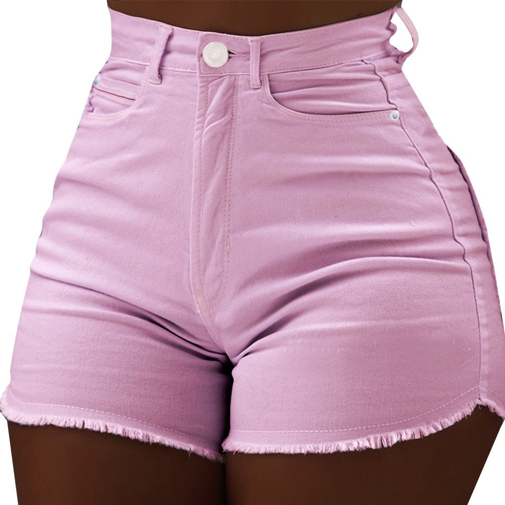 Women High Waist Shorts Jeans Stretch Summer Sexy Micro Ripped Tassel Denim Pink Shorts Cute Booty Club Plus Size Shorts 4 Color