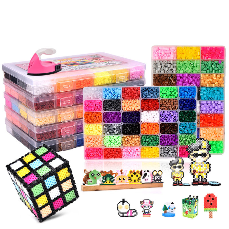 24/72 цветов в коробке, набор шариков hama toy 2,6/5 мм perler, Обучающие Детские 3D головоломки, игрушки «сделай сам», плавкие шарики, листы клейкой доск...