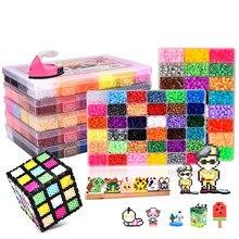 Juego de caja de 24/72 colores hama beads toy 2,6/5mm perler puzzles educativos en 3D diy fusible de juguetes tablero con cuentas hojas papel de planchado