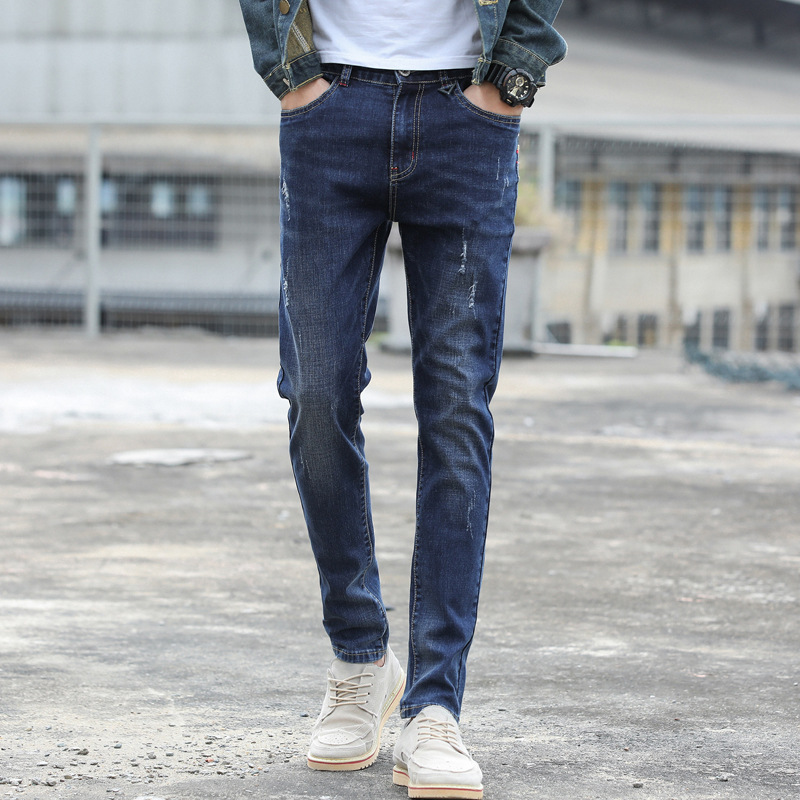 Autumn And Winter New Style MEN'S Jeans Men'S Wear Skinny Pants Teenager Slim Fit Korean-style Stretch Denim Trousers Uk1830