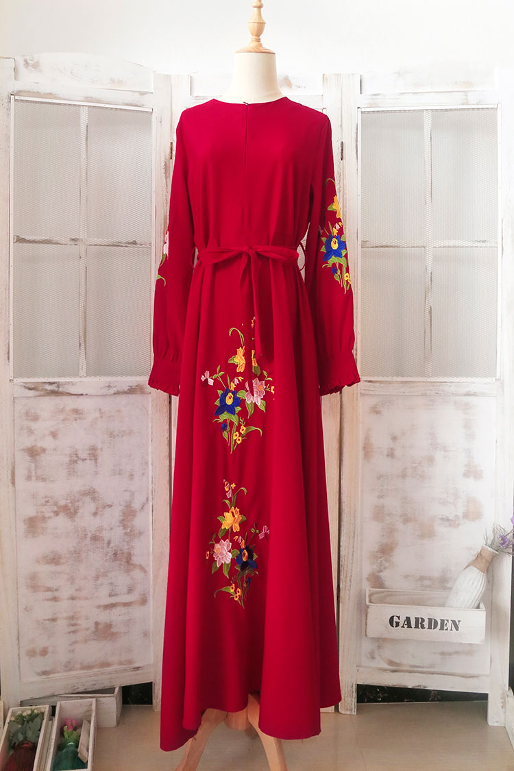 Islamic Traditional Clothing Dress Muslim Robe For Women Saudi Arab Dubai Party Fancy Flower Embroidery Dress Abaya With Belt