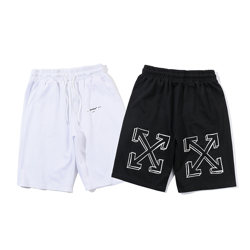 Off White Popular Brand 3D Arrowhead Printed Pure Cotton Summer Hot Selling Shorts Men Teenager Fashion Shorts