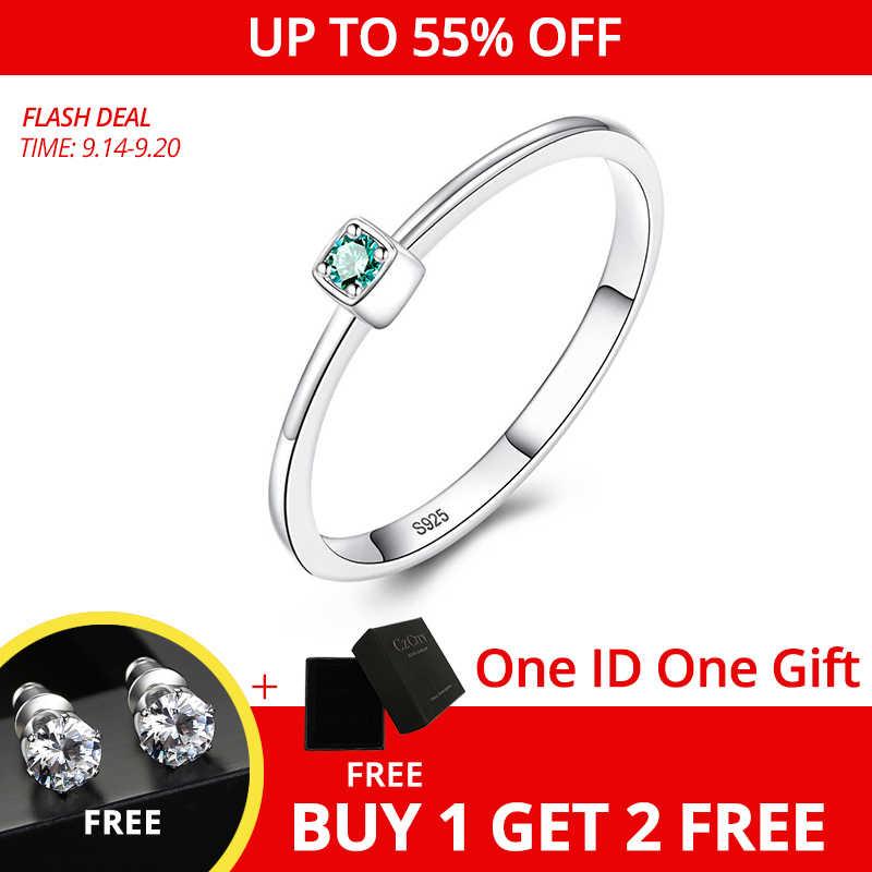 Anillos de boda CZCITY genuinos de Plata de Ley 925 VVS con Topacio verde para mujer, anillos finos minimalistas con gemas circulares, talla de joyería S925