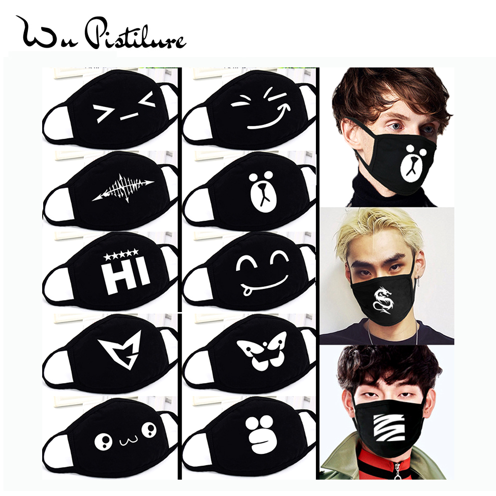 1Pcs Cotton Masks Anti Dust Cartoon Funny Expression Mouth Mask Unisex Banquet Party Mouth Muffle Respirator Keep Warm Masks