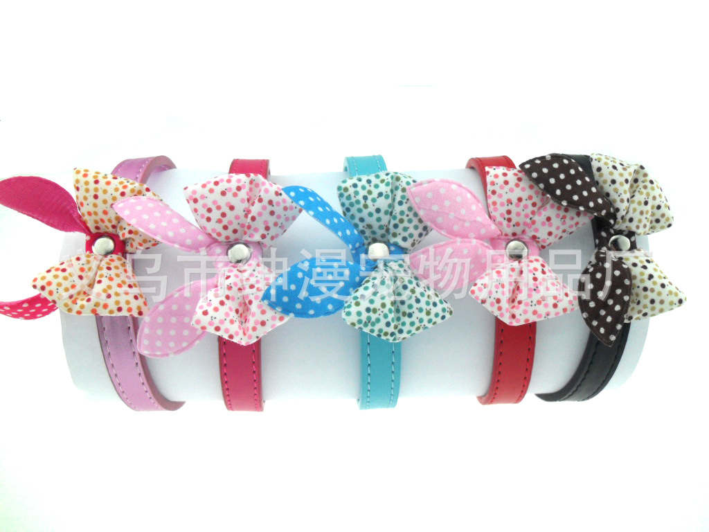 Gentry Diffuse Pet Bow PU Pet Collar Dog Bowtie Dog Neck Ring Supplies