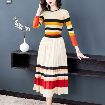 Spring Autumn Runway Hit color Two piece suit set Women Striped Knit Top Sweater+Elastic Waist Pleated Long Skirt Suit 1