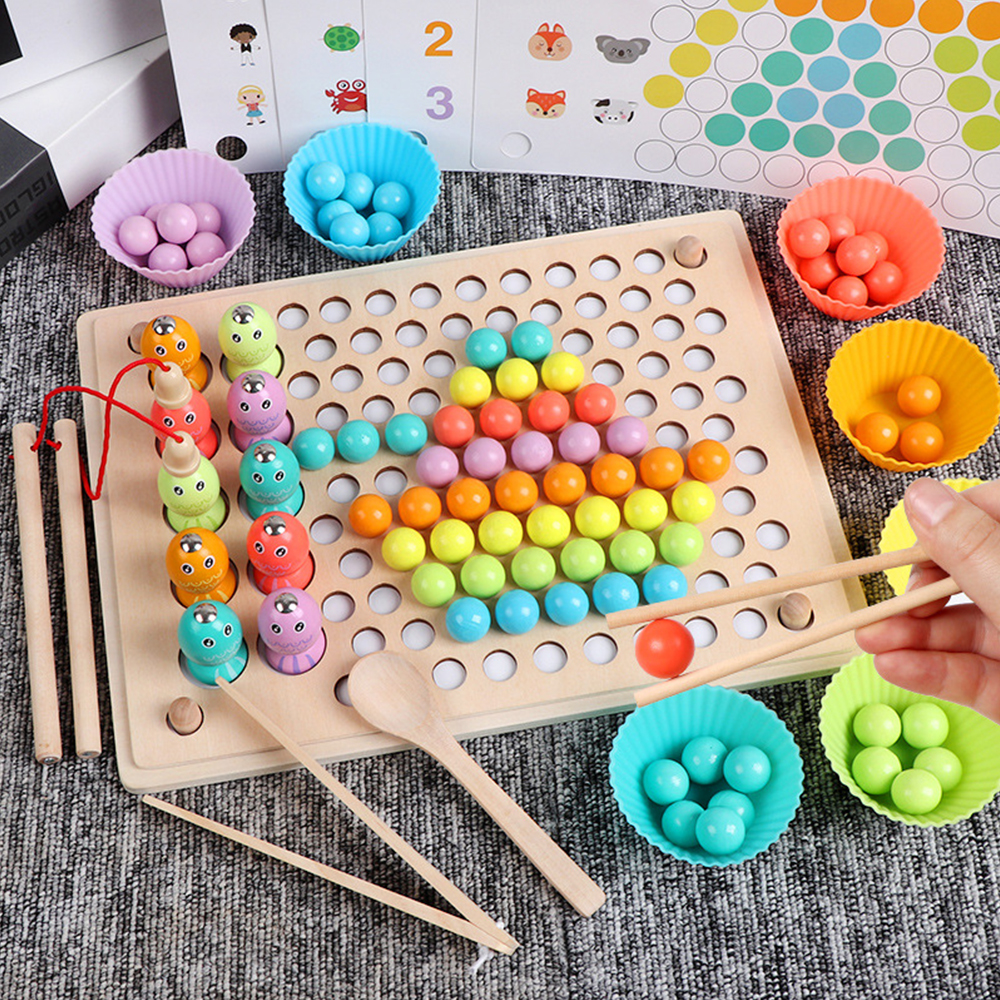 Kids Montessori Wooden Toys Hands Brain Training Clip Beads Chopsticks Beads Toys Early Educational Puzzle Board Math Game Toy