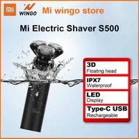 Xiaomi-Afeitadora eléctrica Mijia S500, afeitadora en seco y húmedo, impermeable, con cuchillas duales, cabezal 3D, recortador de barba, recargable tipo C