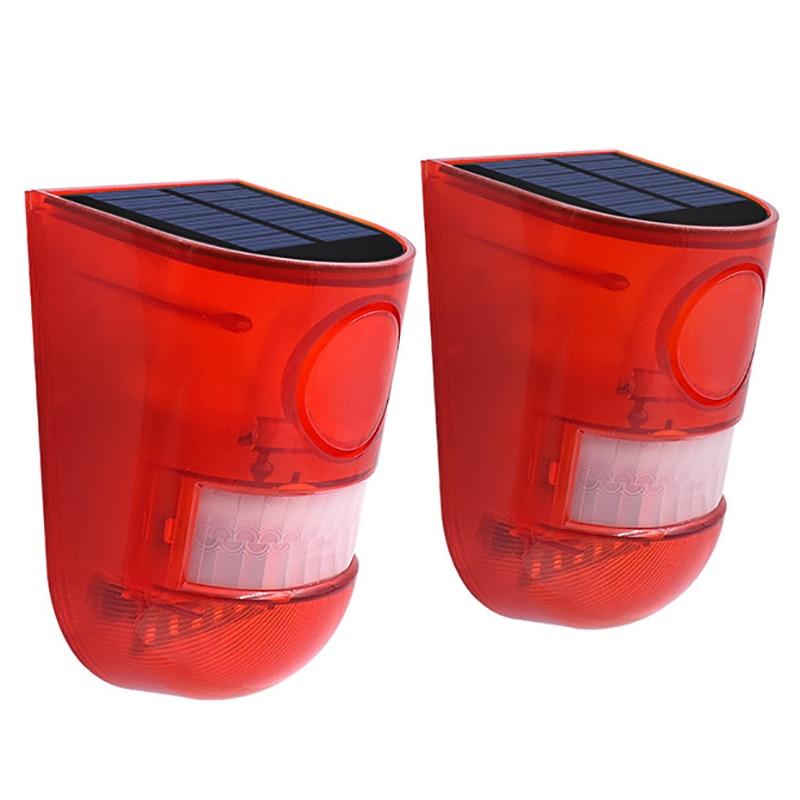 Solar Alarm Light Waterproof Warning Lights Sound Alarm Over Motion Sensor