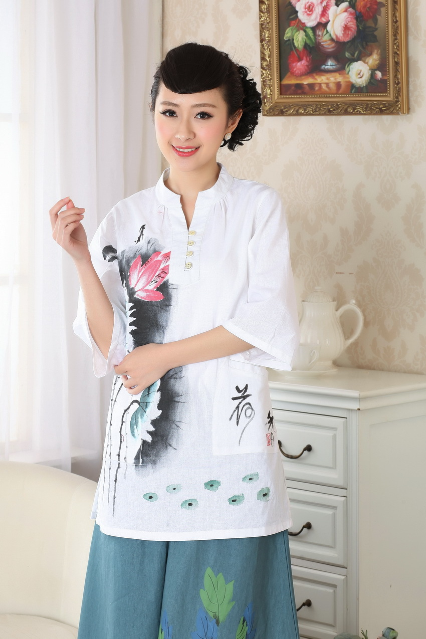 New Style Hand-Painted Cheongsam Tops Cotton Linen Flax Chinese Style Ethnic-Style WOMEN'S Top Chinese Costume Improved A0057