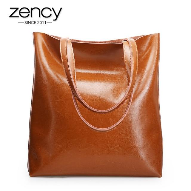 زنسي 100% جلد طبيعي Vintage حقيبة كتف نسائية جودة عالية موضة بني سعة كبيرة حقائب تسوق شنطة يد سوداء حقيبة يد