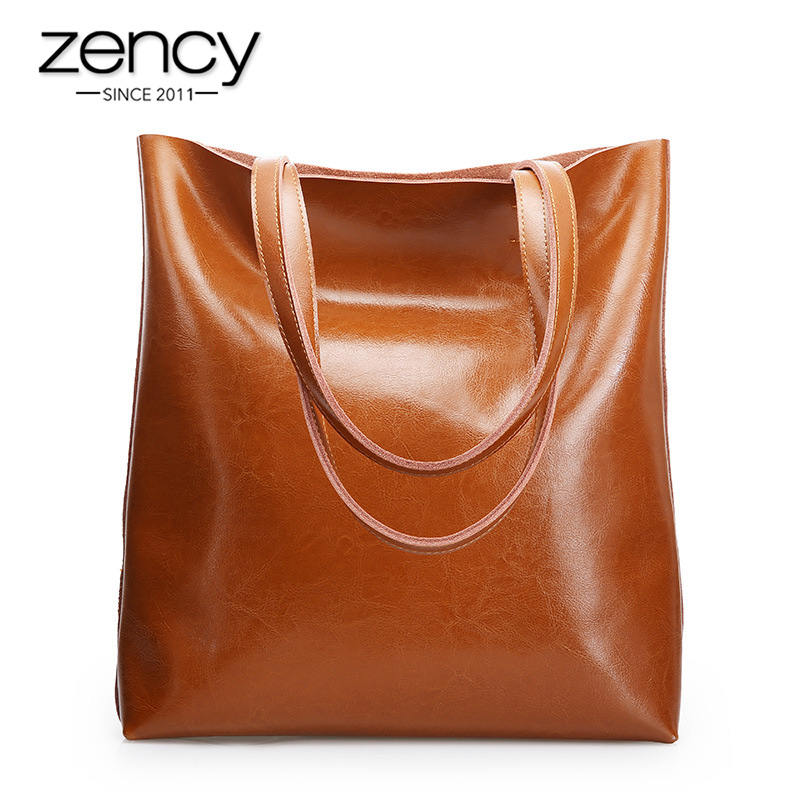 Zency 100% Genuine Leather Vintage Women Shoulder Bag High Quality Fashion Brown Large Capacity Shopping Bags Black Tote Handbag