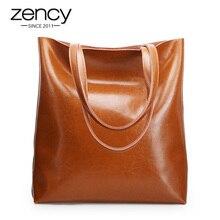 Zency 100% 정품 가죽 빈티지 여성 숄더 백 고품질 패션 브라운 대용량 쇼핑백 블랙 토트 핸드백