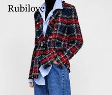 Rubilove 2019 Euramerican New Fashion Popular Line And Plaid Knitting Weaving Full Sleeve Polyester Double Breasted
