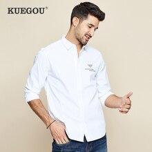 KUEGOU 2019 осень 100% хлопок белая рубашка с вышивкой мужская повседневная приталенная рубашка с длинным рукавом на пуговицах для мужчин Модная блуза 6501