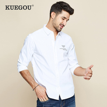KUEGOU 2019 Autumn 100% Cotton Embroidery White Shirt Men Dress Button Casual Slim Fit Long Sleeve For Male Fashion Blouse 6501