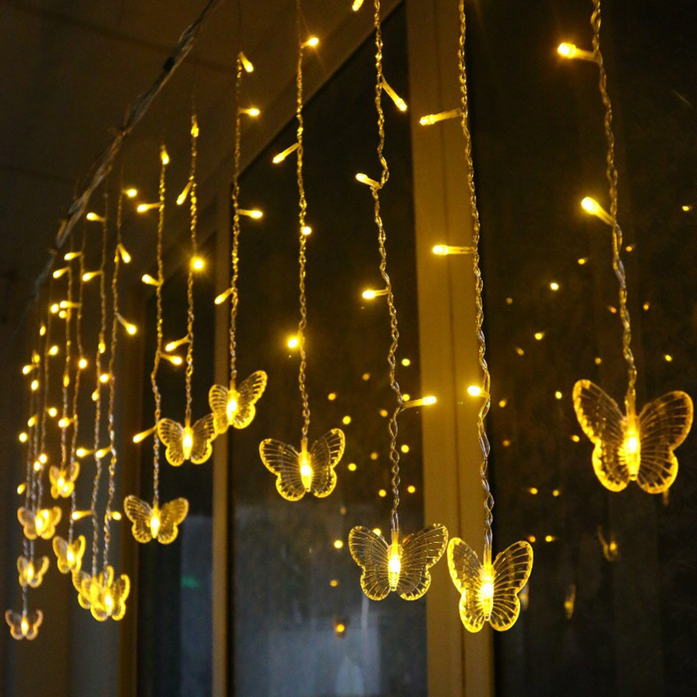 YINUO LIGHT 3.5M 96 LED String Lights Butterfly LED Curtain Lights Christmas Garland Fairy Light Garden Wedding Party Decoration