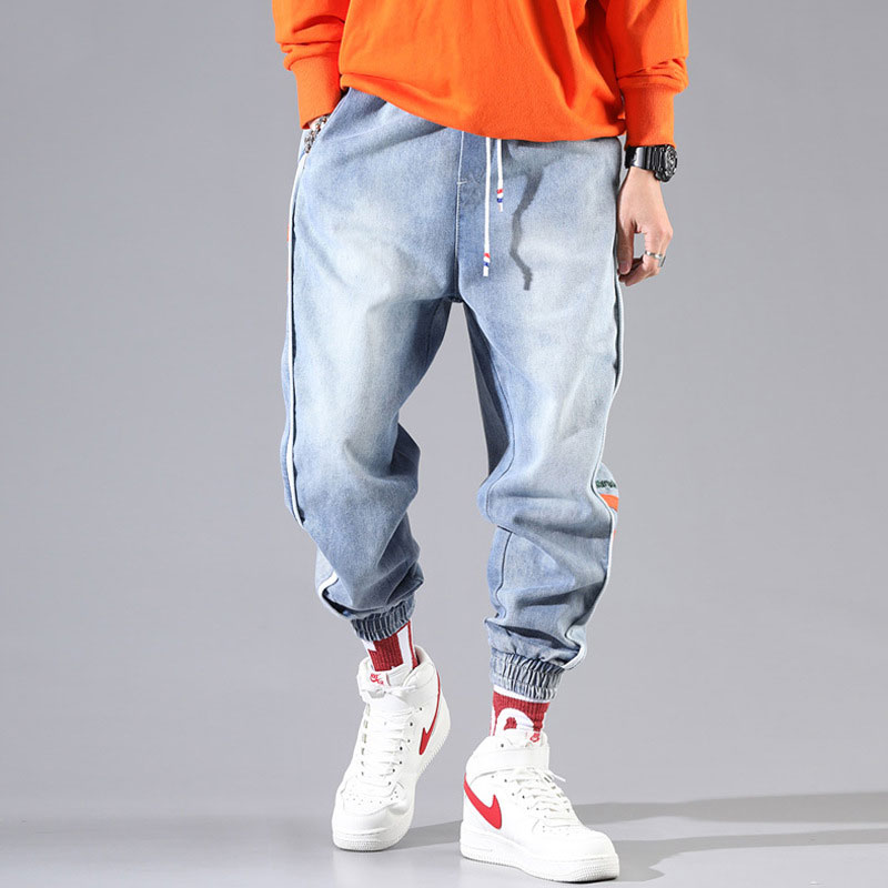 Fashion Streetwear Men Jeans Loose Fit Blue Color Side Stripe Spliced Cargo Pants Harem Jeans Korean Style Hip Hop Jeans Men