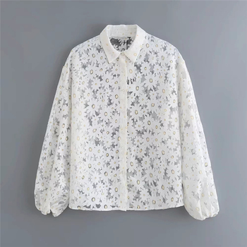 Spain Pop Women Shirt Lantern Long Sleeve Shirts Flower Daisy Design Lady Top Summer Female Button White Blouse Clothes lantern sleeve striped button front blouse