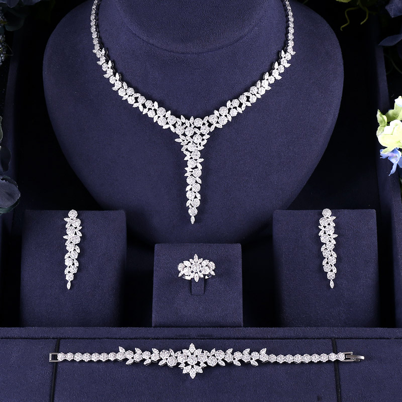 jankelly Hotsale African 4pcs Bridal Jewelry Sets New Fashion Dubai Jewelry Set For Women Wedding Party jankelly  Hotsale African 4pcs Bridal Jewelry Sets New Fashion Dubai Jewelry Set For Women Wedding Party Accessories Design