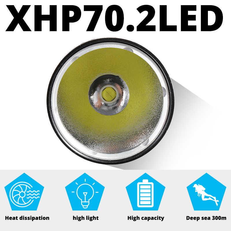 XHP50.2 güçlü LED tüplü dalış el feneri parlak 30W XHP50 sualtı 250M Torch IPX8 su geçirmez 3T6 dalış lambası fener