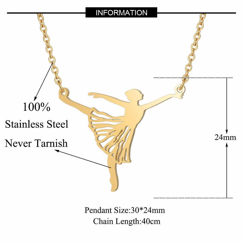 100% prawdziwe ze stali nierdzewnej Hollow duży baleriny balet naszyjnik osobowość biżuteria Trend biżuteria naszyjniki specjalny prezent