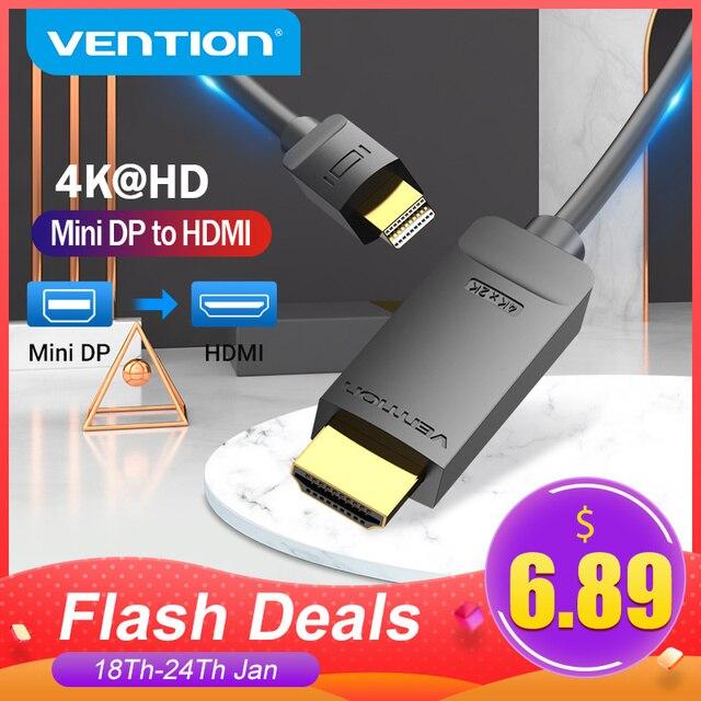 Chính hãng Vention Cáp Chuyển Đổi Mini DisplayPort To HDMI 4K HD Thunderbolt 2 Cáp HDMI Chuyển Đổi TV Macbook Air 13 iMac mini DP to HDMI