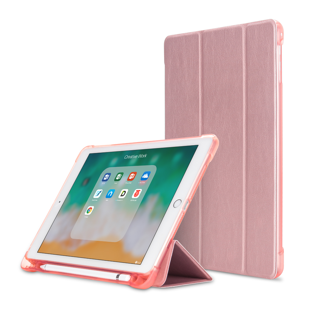 Rose Gold Champagne For iPad 10 2 inch 7th Gen 2019 A2198 Case With Pencil Holder Slim Tri fold