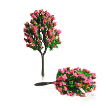 30pcs 7cm DIY scale model pink flower trees toys 9cm miniature architecture color plants for diorama tiny sandtable scenery make