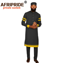 Men Tracksuit African Clothing Traditional Set Dashiki Shirt Pant and Hat 3 Piece Tribal Outfits Casual Robe AFRIPRIDE A2016013