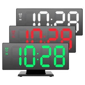 USB кабель цифровой будильник светодиодный зеркальный часы Многофункциональный Повтор дисплей времени настольный милый будильник Ночная с...