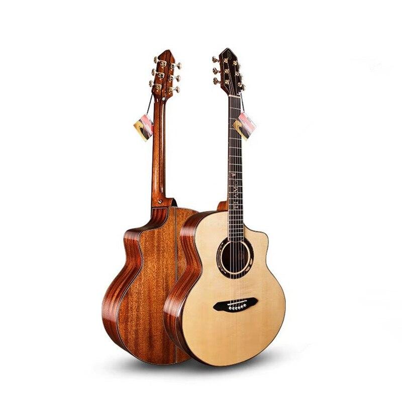 """Guitare pleine solide professionnelle, guitare Jumbo découpée de 41 """"avec table en épicéa massif/corps en acajou massif, guitares chine, TA-JC32A"""