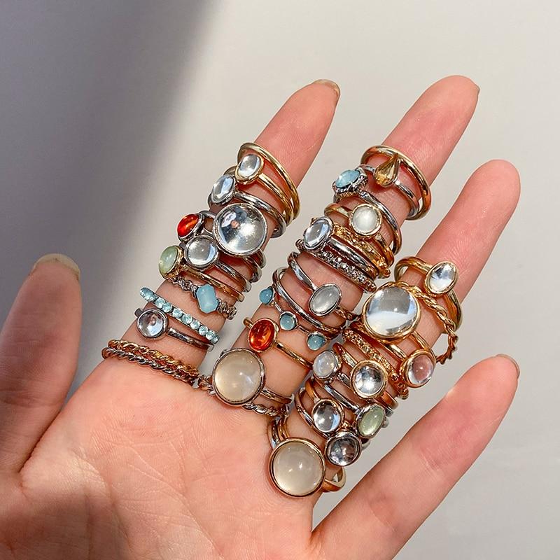 New Korea 8pcs/set Vintage Colorful Stone Metallic Chain Trendy Geometry Hit Rings Set for Women Girls Jewelry