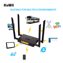 KuWFi CAT4 4G LTE CPE Car WiFi 300Mbps Industry Wireless Router High Speed with SIM Card Slot /4pcs External Antenna