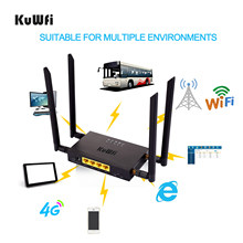 KuWFi CAT4 4G LTE CPE Auto WiFi 300Mbps Industrie Drahtlose Router Hohe Geschwindigkeit CPE Router mit SIM Karte slot/4 stücke Externe Antenne