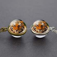 3d Tiger Picture Tibet Silver / Antique Bronze Chain Double Side Glass Ball Pendent Necklace Animal Jewelry Accessories