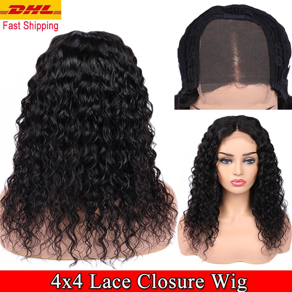 FAVE Human Hair Lace Wigs 4x4 Lace Closure Water Wave Wig 150% Density Brazilian Remy Wig 8-24