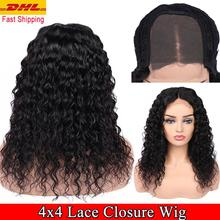 FAVE Human Hair Lace Wigs 4x4 Closure Water Wave Wig Pre-Plucke Brazilian Remy 8-24 For Black Women Fast Free Shipping