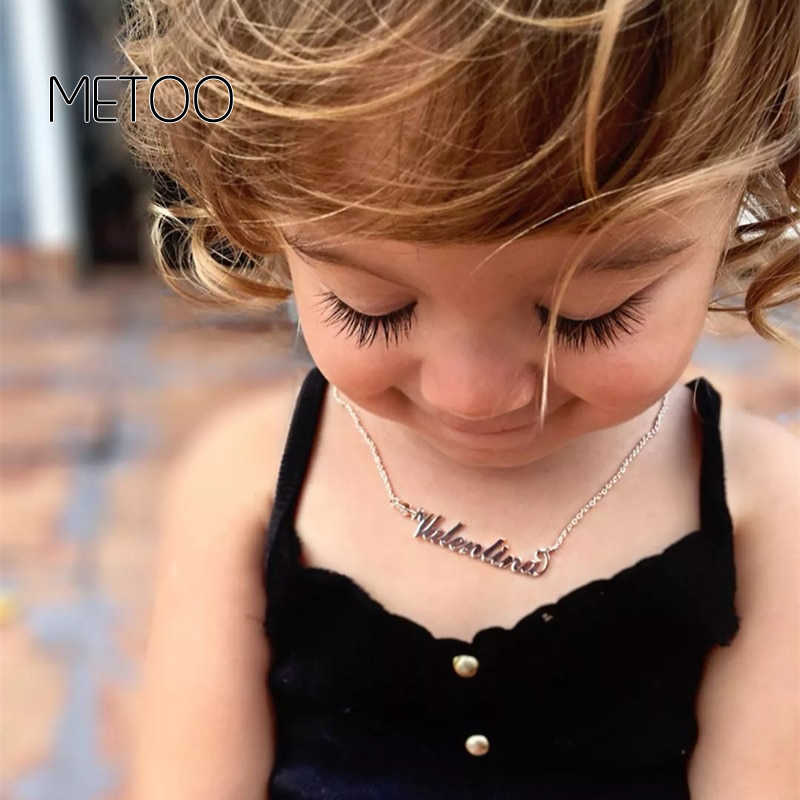 """METOO 2019 dziecko biżuteria spersonalizowane nazwa wisiorek Choker naszyjnik dzieci dzieci naszyjnik zielony przycisk """" pokaż dane kontaktowe dla dziewczynek chłopiec dostosowane DIY"""