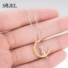 SMJEL – colliers et pendentifs en forme de chat et de lune pour femmes, bijoux couleur or et argent, meilleurs cadeaux pour filles