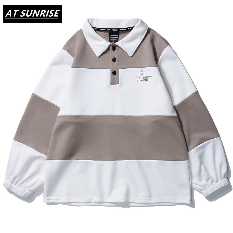 2020 Men Hip Hop Sweatshirt Pullover Retro Striped Harajuku Pullover Streetwear Cotton Autumn Sweatshirt Turn-down Hoodie tops